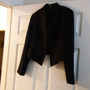 Black Waist length Blazer with hook and eye front